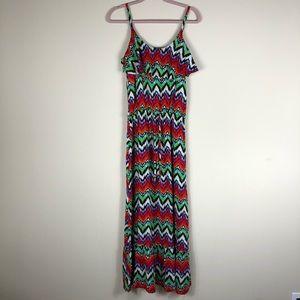 ALLISON BRITTNEY   Multi Color Chevron Maxi Dress